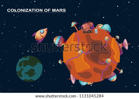 Vector cartoon mars colonization concept. Red planet in space, cosmos with colony buildings for terraforming. Different bases with spaceships. Futuristic technology, sci-fi construction, exploration
