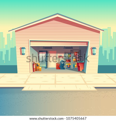 Vector cartoon mechanic workshop, fitting or repair garage. Storeroom with furniture, tools, car parts and details. Automobile service near with the road, urban business