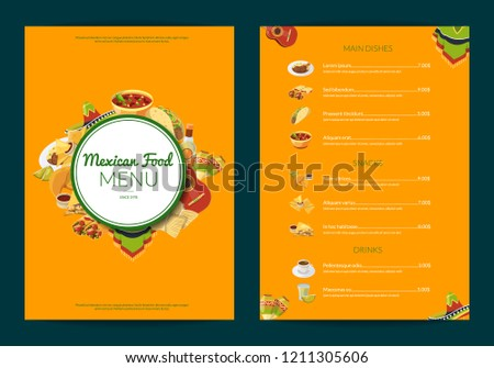 mexican traditional food menu template vector download free vector