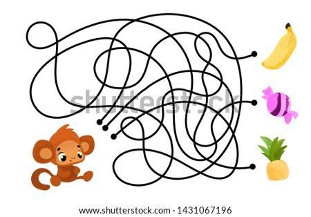 vector cartoon monkey and apple