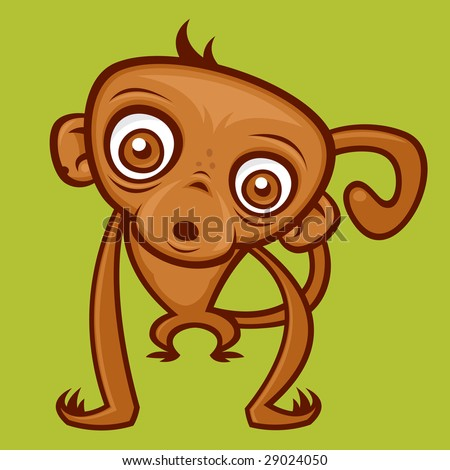 Vector cartoon monkey illustration.