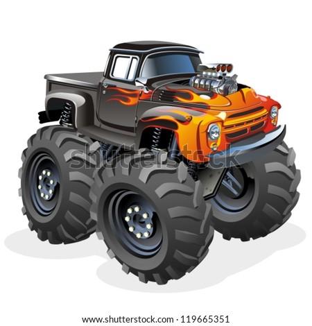 Vector Cartoon Monster Truck - stock vector