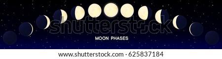 vector cartoon moon phase luna