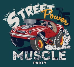 vector cartoon muscle car and race rider illustration for t shirt print