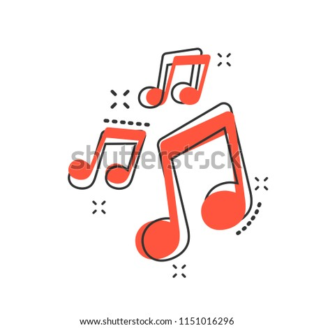 Vector cartoon music icon in comic style. Sound note sign illustration pictogram. Melody music business splash effect concept.