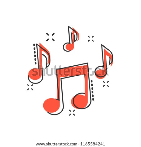 Vector cartoon music note icon in comic style. Sound media concept illustration pictogram. Audio note business splash effect concept.