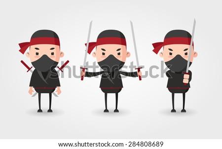 vector cartoon ninjas set