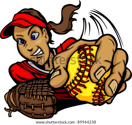 Vector Cartoon of a Fastpitch Softball Player Pitching