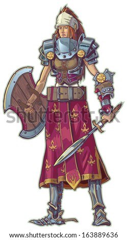 vector cartoon of a warrior