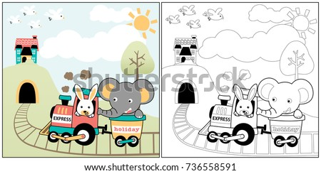 vector cartoon of animals recreation with coal train, coloring book or page