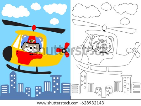 vector cartoon of bear pilot with helicopter, coloring book or page
