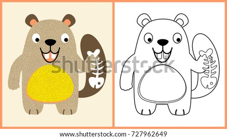Vector Cartoon Of Beaver Holding A Fish Bone Coloring Page Or Book