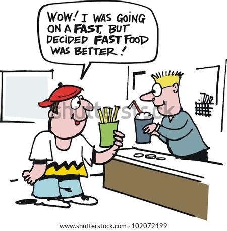 Vector cartoon of boy ordering fast food in restaurant