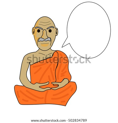 Stock Photo vector cartoon of Buddhist monk meditation with balloon for edit text