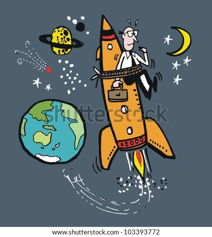 Vector cartoon of business executive tied to rocket in outer space