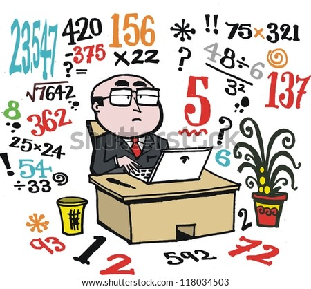 Vector cartoon of business man doing number calculations at desk.