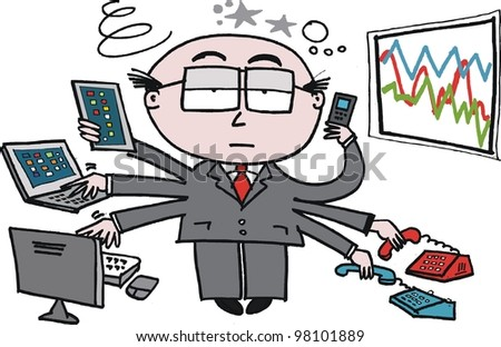 Vector cartoon of business man using new technology in office. - stock vector