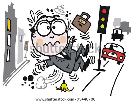 Vector cartoon of businessman slipping on banana peel in city street
