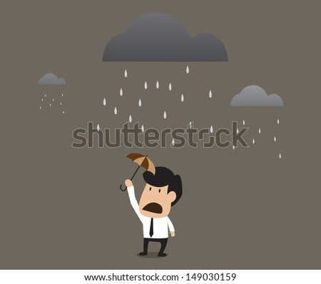 Vector cartoon of Businessman under a little umbrella in the rain