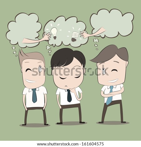 Vector cartoon of Businessmen will thinking to steal idea from another man.