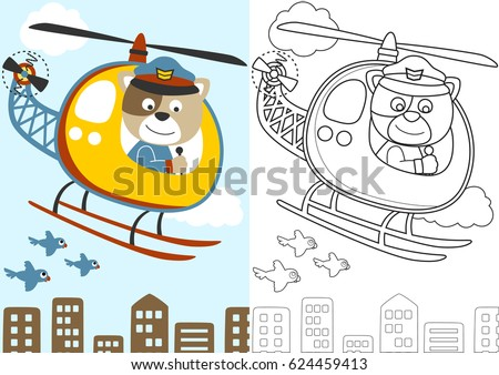 vector cartoon of cat the helicopter pilot, coloring book