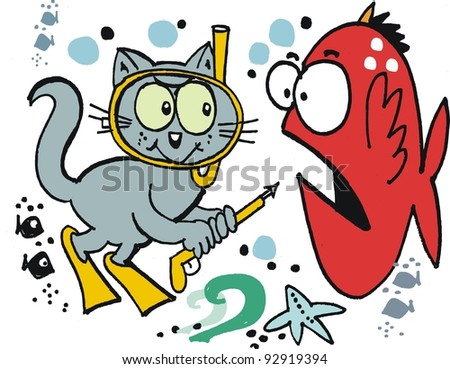 Vector cartoon of cat underwater spearfishing