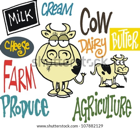 Vector cartoon of cow with produce signs