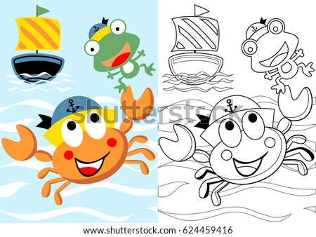 vector cartoon of cute crab the skipper with frog his crew, coloring book