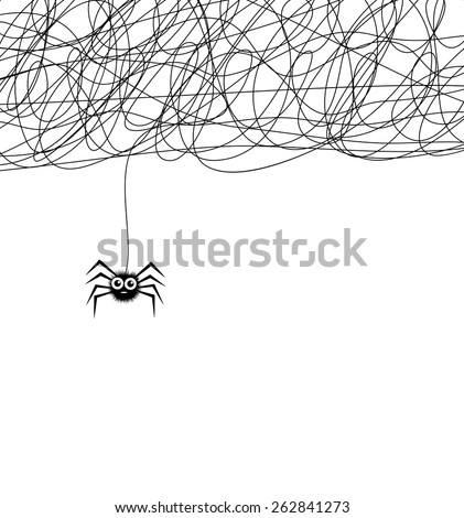 vector cartoon of cute hanging spider and web network #262841273