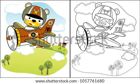 vector cartoon of cute pilot on