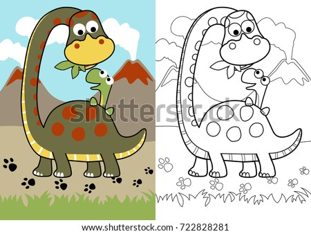Vector Cartoon Of Dino Feed His Son Coloring Page Or Book