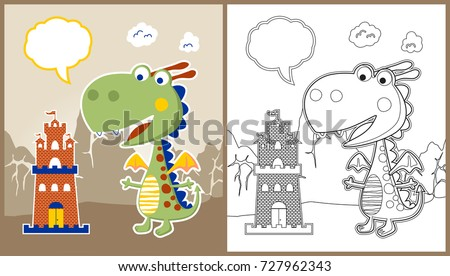 vector cartoon of dragon with