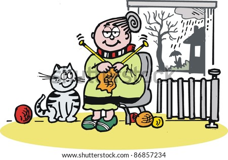 vector cartoon of elderly woman