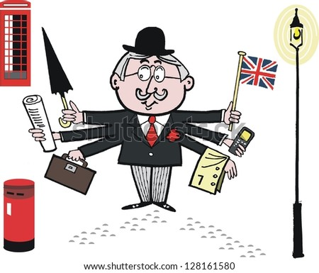 Vector cartoon of English businessman with umbrella and mobile.