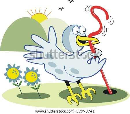 Vector cartoon of excited bird pulling worm out of ground.