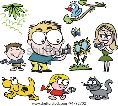 Vector cartoon of family group taking photographs outdoors