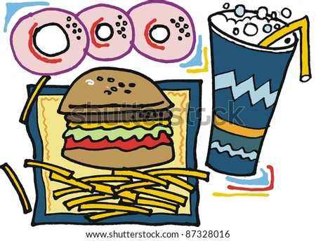 Vector cartoon of fast food with hamburger and fries.