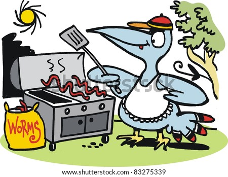 Vector cartoon of fierce bird preparing worm meal on barbecue