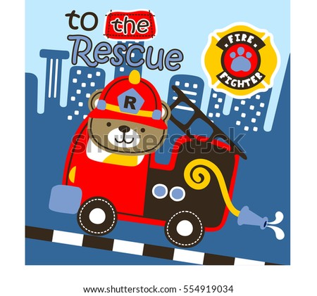 Vector cartoon of fire engine to the rescue in the city. Eps 10
