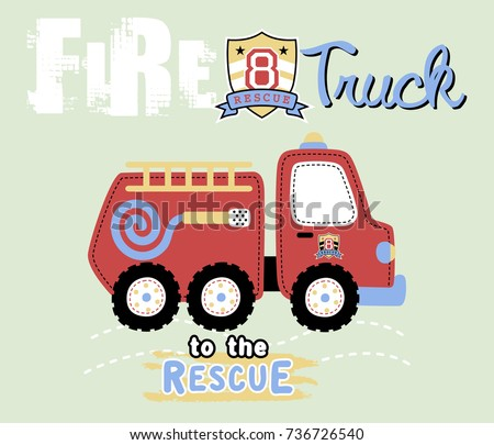 vector cartoon of fire truck