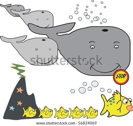 Vector cartoon of fish leading family safely across in front of large group of whales.