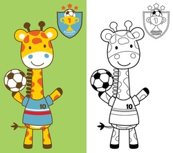 Vector cartoon of giraffe standing wearing soccer player costume while holding ball, coloring book or page