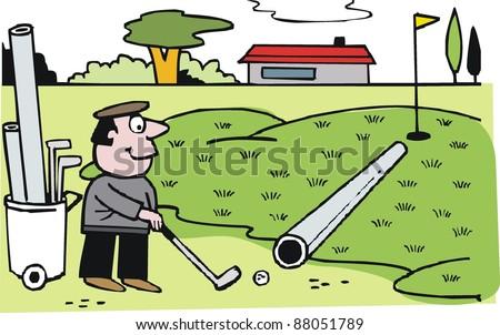 vector cartoon of golfer