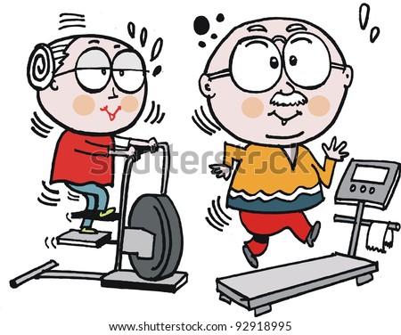Vector cartoon of grandparents using exercise machines