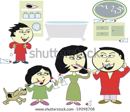 Vector Cartoon Of Happy Asian Family Cleaning Teeth In Bathroom ...