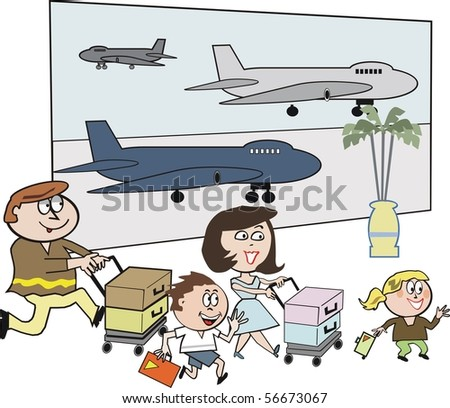 Vector cartoon of happy family with luggage at airport.
