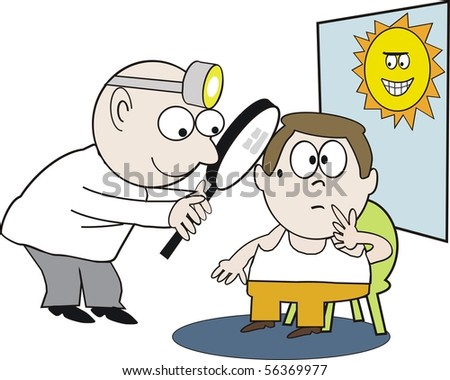 Vector cartoon of health professional examining patient for sunspot damage.