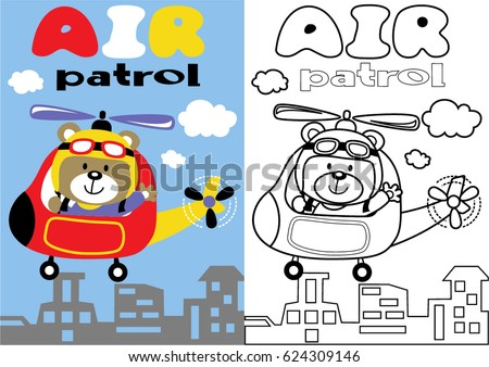vector cartoon of helicopter and pilot, coloring book