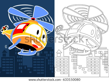 vector cartoon of helicopter flying over buildings, coloring book or page