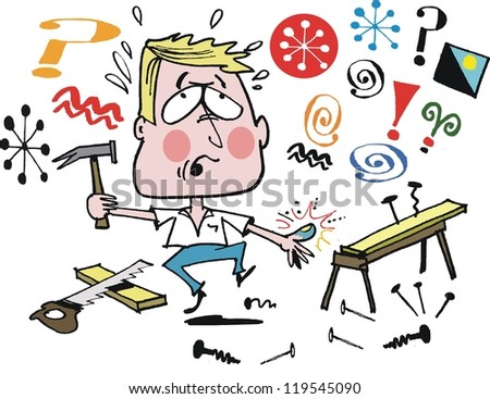 Vector cartoon of home handyman doing carpentry job.